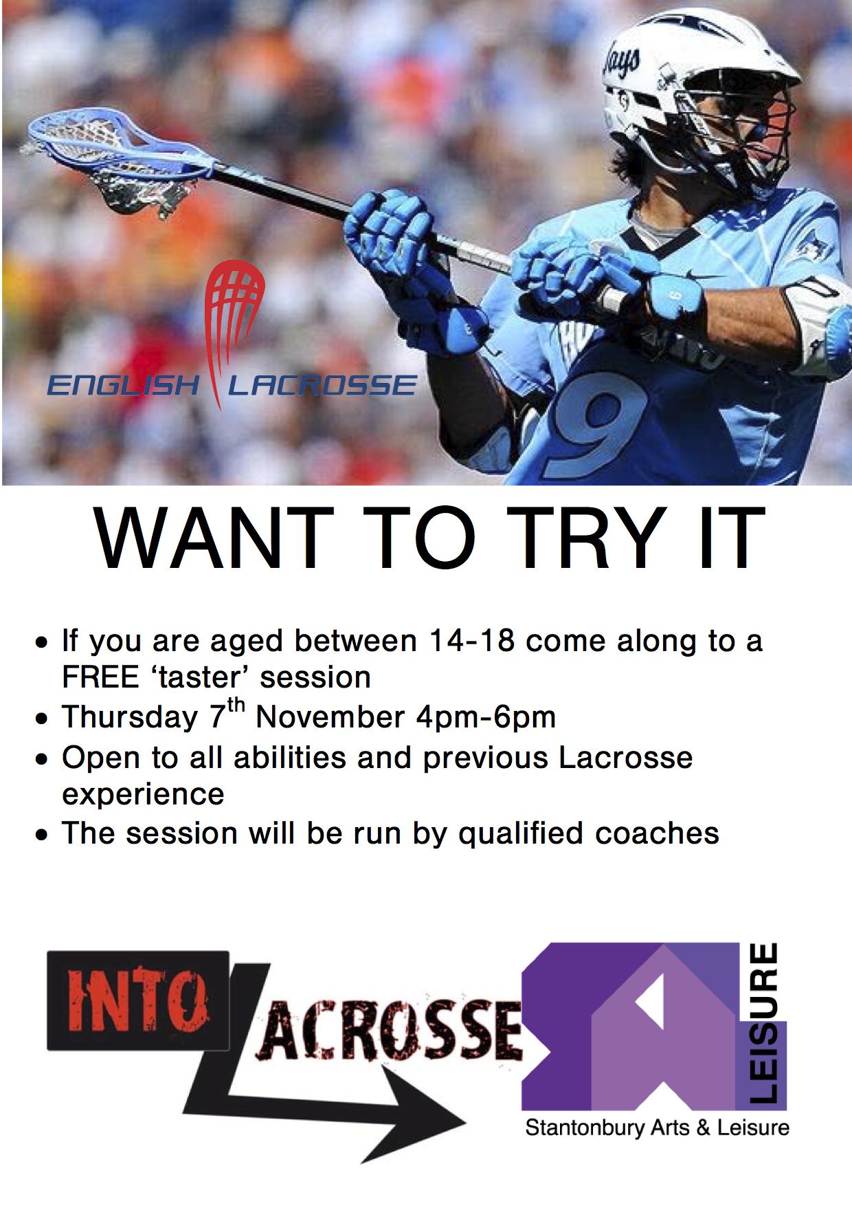 Free 'taster' session at Stantonbury for 14-18 yr boys and girls, Thu 7th Nov