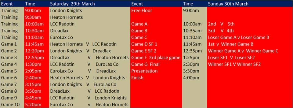 Tasko Cup Schedule