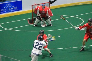 Andy Downing faces up to USA All-Star Casey Powell