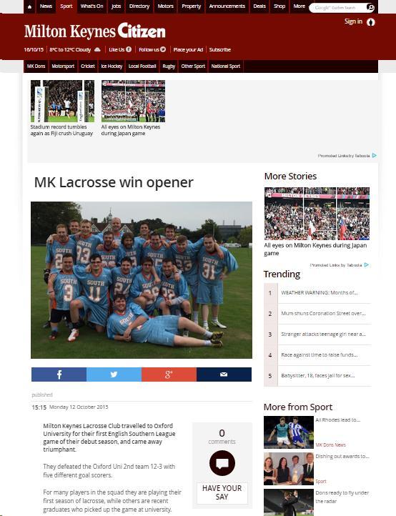 MK Citizen: MK Lacrosse win opener