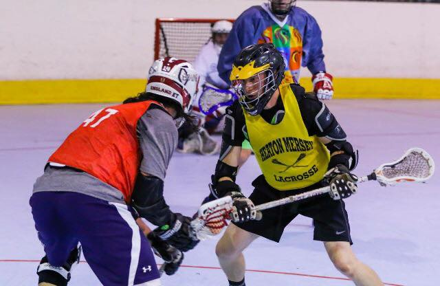 Box lacrosse akin to ice hockey, without the ice